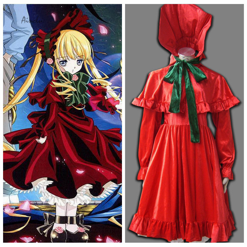 Ainclu Hot Selling Costume Free Shipping Rozen Maiden Anime Shinku Halloween Cosplay For Adult costume and Kid costume