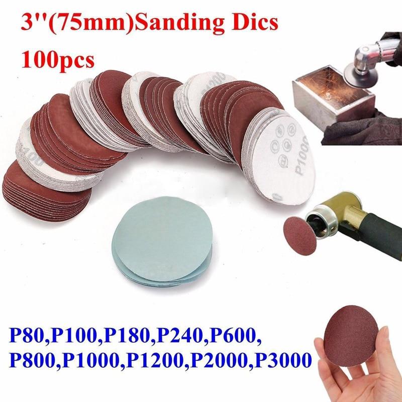 100 Pcs Abrasives Hook Sander Disc Abrasives Sanding Paper Pad Polishing Pad Sandpaper Mix Set For Polish Machine Supplies