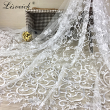high quality New Style 1yard 125cm wide exquisite wedding dress lace fabric gorgeous mesh tulle embroidery for