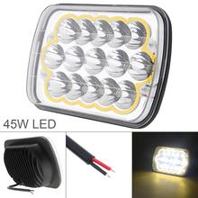 Universal 5 X 7 Inch 45W 8000LM 6000K Waterproof Led Work Light for Off-Road Suv Boat 4X4 Jeep JK 4Wd Truck 12V-24V Car Auto 1 pair 12v 24v led rock light kits for interior exterior under off road truck for jeep atv suv jeep 4x4 boat 4wd motorcycle car