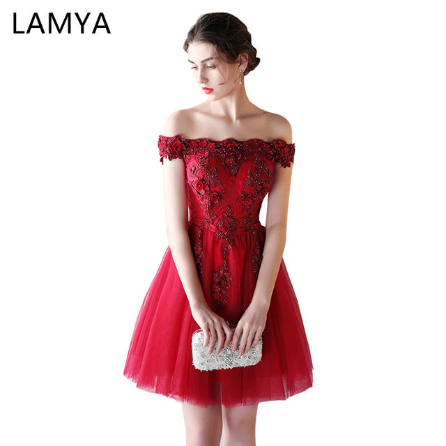 LAMYA Appliques Beading Prom Dresses Women Short Elegant Boat Neck Evening Dress Sexy Formal Party Gown robe de soiree