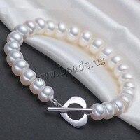 7 - 8 mm de agua dulce pulsera de perlas naturales púrpura blanco naranja mujeres perla pulsera con las perlas de la joyería