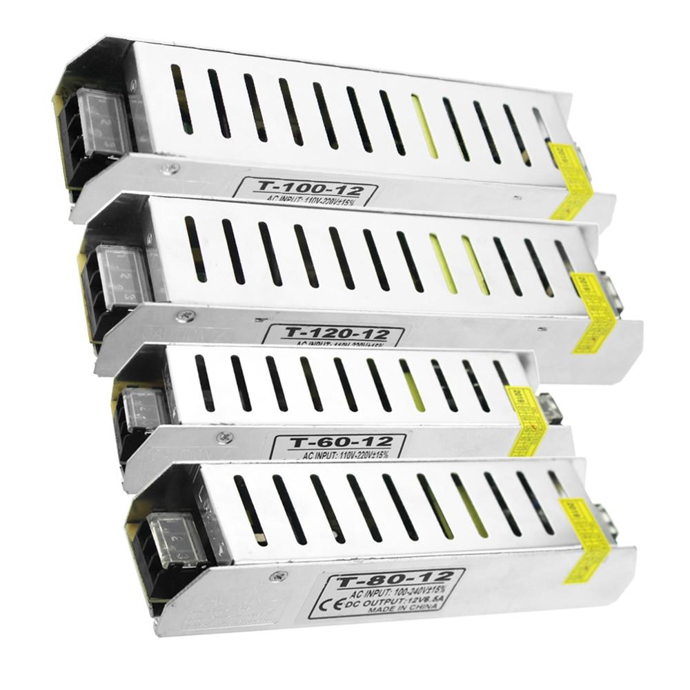 Potencia de conmutación fuente de alimentación DC 12 v 60w 80w 100w 120w controlador de Led 12 v Fonte de iluminación transformador de 220 v a 12 voltios Unidad de fuente de alimentación