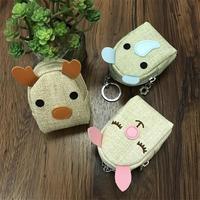 Novo Mini Menina Kawaii Moeda de Zero Carteira Estilo Coreano Estudante bolsa Japão E Coreano Estilo PU Bege Amarelo Animal Charaster bolsa