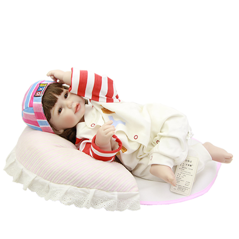 Lovely Reborn Doll Baby 20 Inch Silicone Vinyl Princess Newborn Babies Girl Lifelike Dolls Toy With Romper Kids Birthday Gift  18 inch lovely american girl princess doll baby toy doll with fashion designed dress journey girl doll alexander doll
