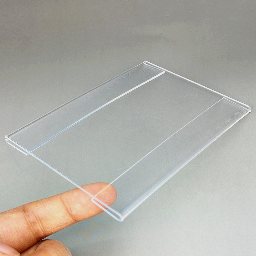 Acrylic T1.2mm Plastic Clear Name Card Holders Sign Price Tag Label ID Show Advertising Display Paper Promotion 100pcs