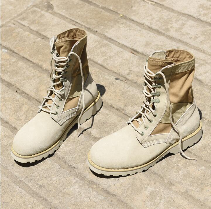 2017 Men Anti-skid Military Crepe Boots Ankle Suede Thick Flat Boots Lace-up Black Army Green Khaki Desert Boots Size EU36-EU46