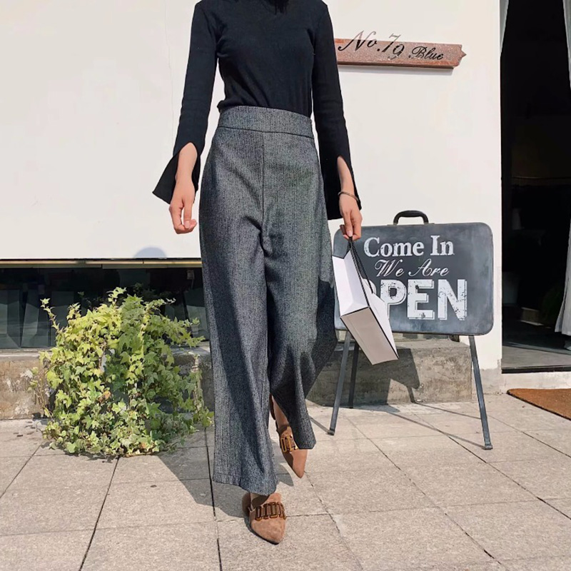 JXYSY 2019 feminina   pants   england style straight mid flat none solid   wide     leg     pants   women trousers plus size