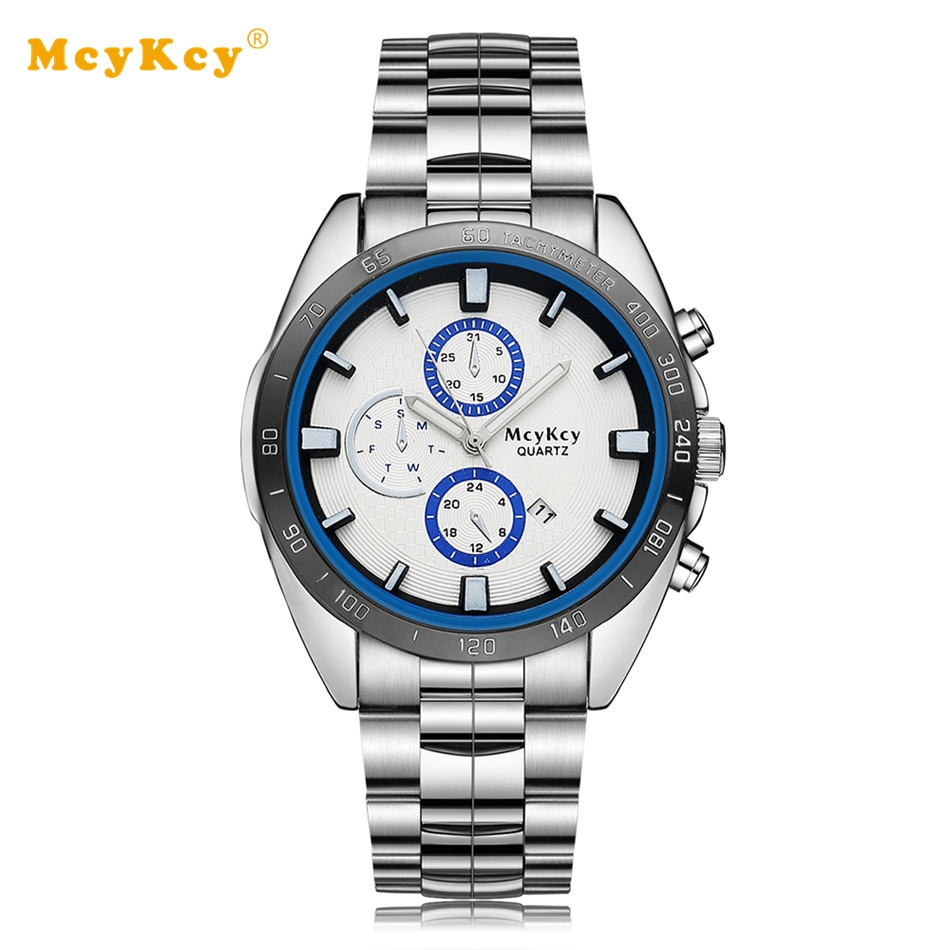 Mcykcy Famous Brand men Stainless Steel Watch Silver Blue Fashion Luxury Electronic Clock Dress Relogio Quartz Watch MY011 mcykcy new famous brand casual quartz watch men gold stainless steel fashion dress watches relogio masculino unisex clock hot
