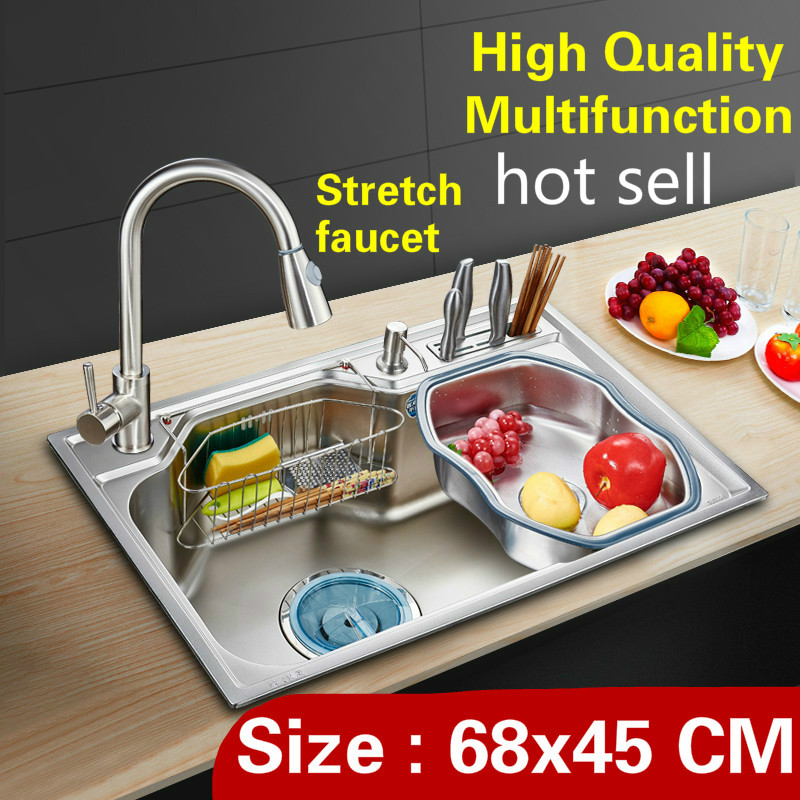 Free shipping Home luxury kitchen single trough sink high capacity stretch faucet wash vegetables 304 stainless steel 68x45 CMFree shipping Home luxury kitchen single trough sink high capacity stretch faucet wash vegetables 304 stainless steel 68x45 CM