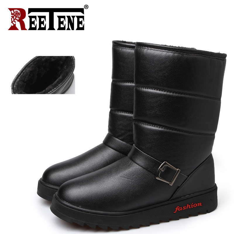 REETENE Winter Ankle Boots Men Plus Size Sneakers Botas Hombre Winter Boots Men Pu Leather Winter Shoes Men Warm Snow Boots Male libang 2018 brand men winter shoes warm male winter boots snow boots winter shoes for men fashion soft men shoes plus size 41 46