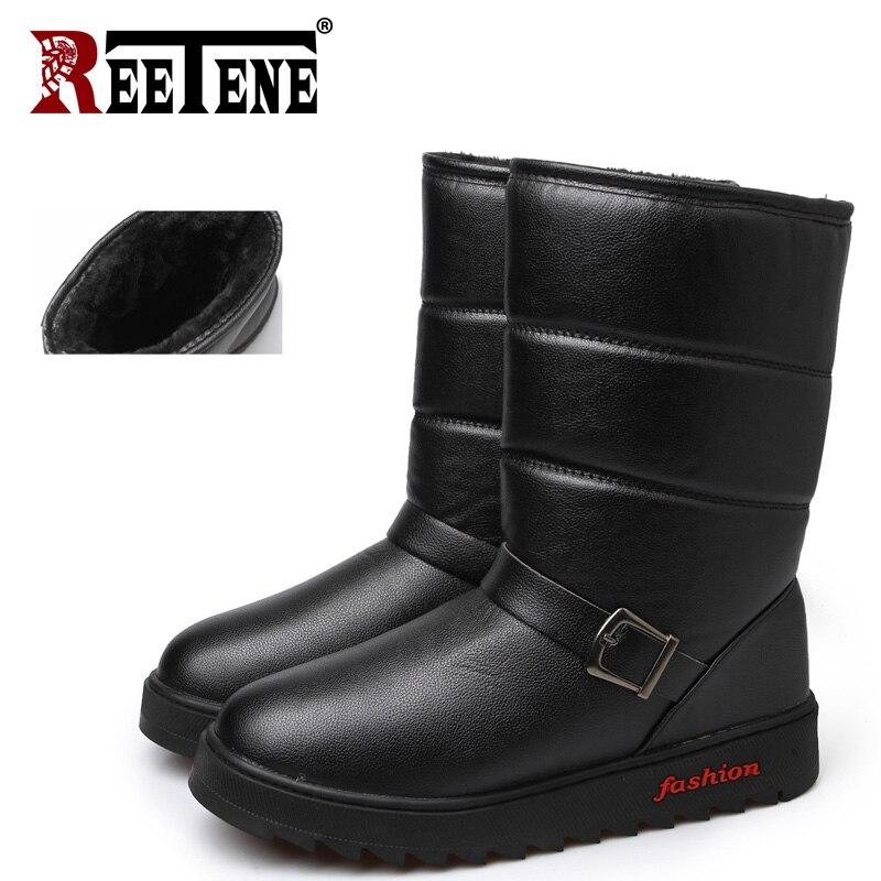 REETENE Winter Ankle Boots Men Plus Size Sneakers Botas Hombre Winter Boots Men Pu Leather Winter Shoes Men Warm Snow Boots Male