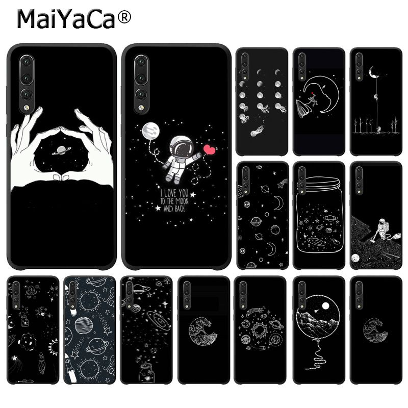 Trend Mark Maiyaca Black With White Moon Stars Space Astronaut Phone Case For Huawei P20lite P10 Plus Mate10lite Mate20 P20 Pro Honor10 Half-wrapped Case Cellphones & Telecommunications