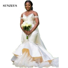Sunzeus Champagne African Wedding Dresses Mermaid