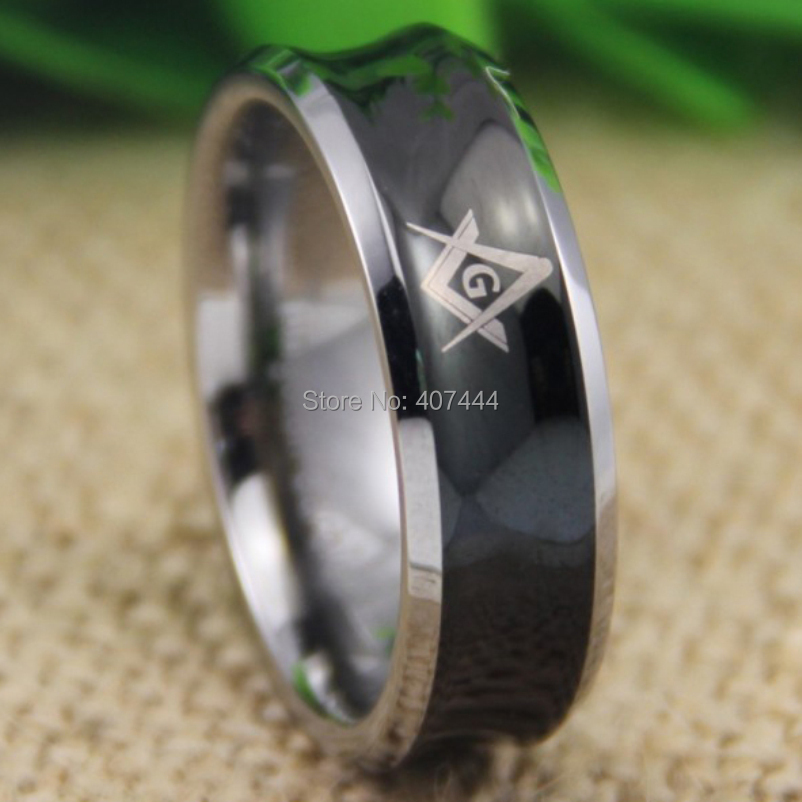 Free Shipping YGK JEWELRY Hot Sales 8MM Black Silver Edges Concave Masonic Mason New Men's Tungsten Wedding Ring soitis free mason hip hop stainless steel past master masonic free mason freemasonry pendants mason necklaces gold color