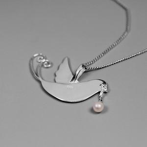 Image 3 - 蓮楽しいリアル 925 スターリングシルバー手作りのクリエイティブフライング鳥果物ネックレスなし女性のための