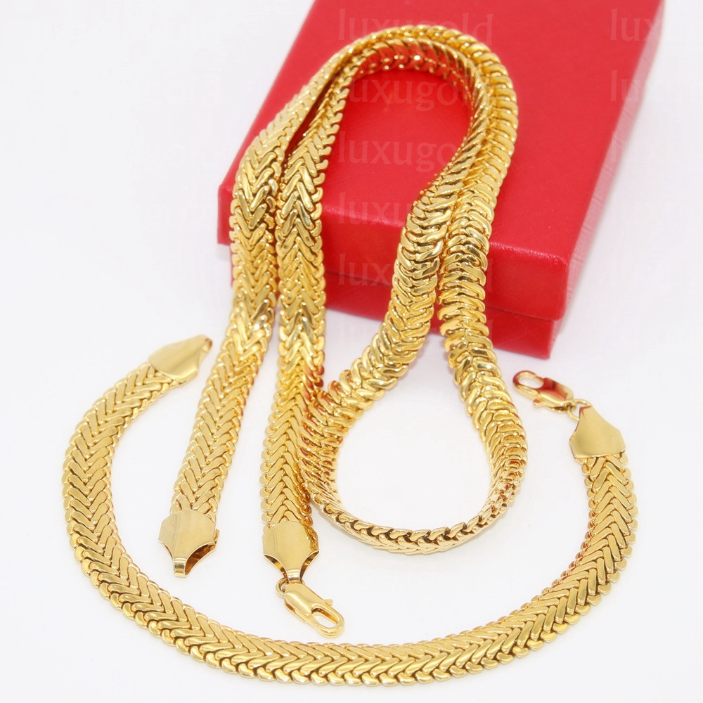 Massive Necklace Bracelet Sets Mens Yellow Gold Filled 2 Ways Wear Thick Snake Bone Herringbone Chain Jewelry Sets Male Gift