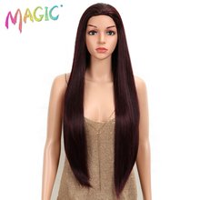 MAGIC Hair 30 Inch Soft Long Straight Red Wine Wigs Natural Heat Resistant Synthetic For Black Women Party Wig