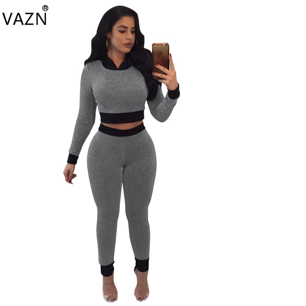 VAZN Hot Fashionable Popular 2018 Bodycon Jumpsuit Full Sleeve Long Jumpsuit Ladies Hooded Casual Jumpsuit A7535L