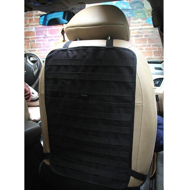 Car Seat Back Multi-pocket Organizer MOLLE Car Seat Organizer Backseat Holder Kicking Mat Military 600D Tactical Insert Panel