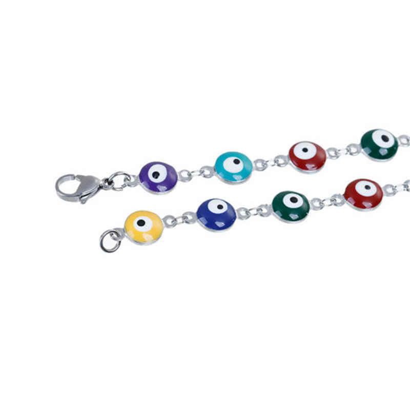 แฟชั่นสร้อยข้อมือสแตนเลสรอบEvil Eye Multicolor Enamelลูกปัดเครื่องประดับสำหรับหญิงสาวของขวัญ20.5ซม.ยาว,1 PC