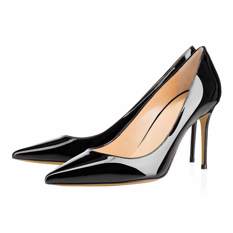 2b0fdbc1b8f 2019 Women Patent Leather Pump 8.5/10/12CM Stiletto High Heels Wedding  Dress Shoes Pointed Toe Classic Pumps Plus Size 35-46