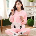 2016 Winter new thickening velvet cute smile rabbit fluffy mink velvet pajamas large size can be worn long-sleeved two-piece