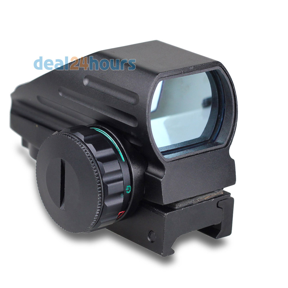 Taktis Reflex Red / Green Laser Proyeksi Holographic 4 Reticle Dot Sight Lingkup Airgun Rifle sight Berburu Rail Mount 20mm