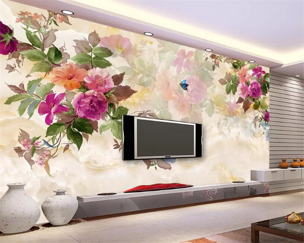 beibehang 3D photo wallpaper marble hand painted peony flower mural bedroom living room sofa TV background wall 3d wallpaper in Wallpapers from Home Improvement