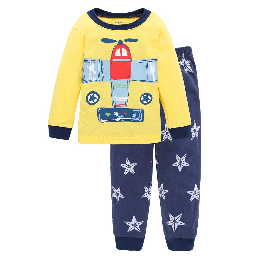 Hooyi Plane Baby Boys Pajamas Clothes Set Cotton Children T-Shirts + Pants Long 2 3 4 5 6 7 Year Kids Sleepwear Infant Pijamas