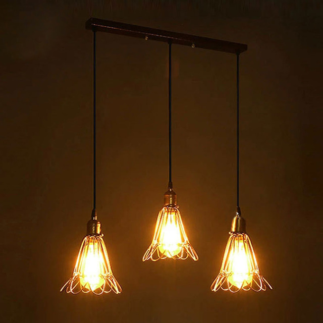 Retro Vintage Pendant Lights Hanging Lamps Edison Filament Bulb Ac90 260v Pully Lighting Fixture
