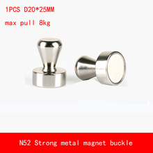 1PCS D20*25mm max pull 8kg Neodymium Strong Fridge Magnets N52 Whiteboard Magnet Metal Buckle