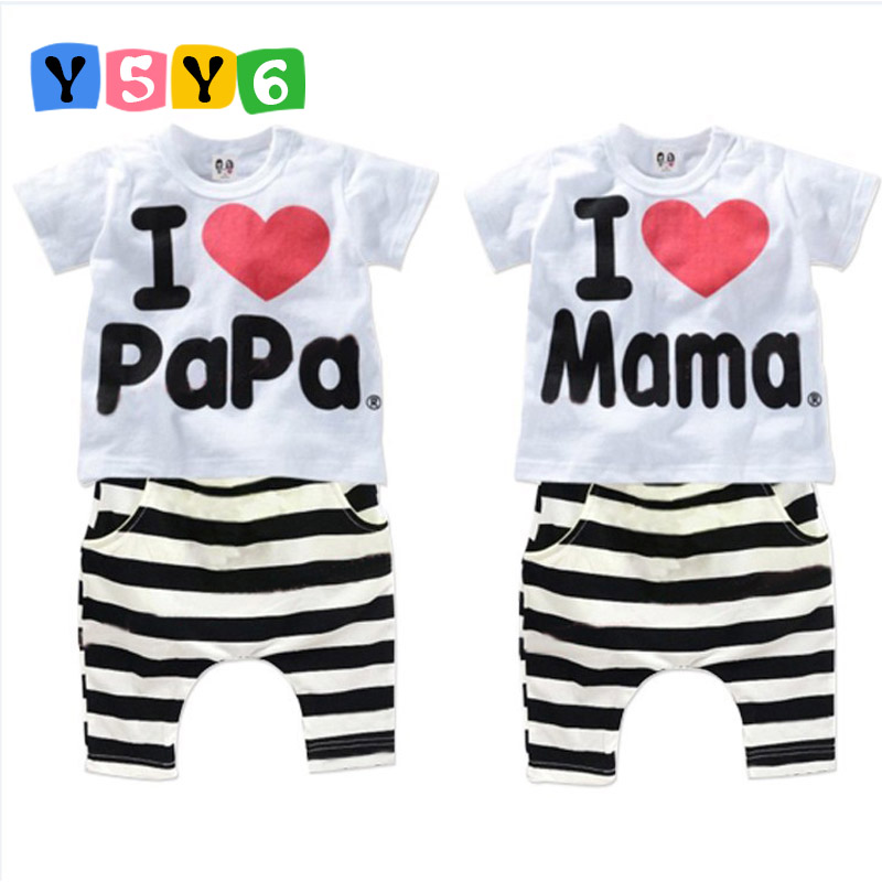 2018 New Summer Children Baby Clothing Sets Kids I love papa mama Clothes Suit Boys Girls T shirt Striped Pants Pajamas Sets
