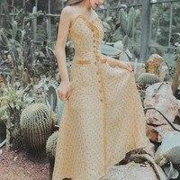 HAMALIEL Women Holiday Beach Maxi Dress Summer Yellow Dot Print Ruffles Single Breasted Long Dress Vintage Sexy Halter Sundress
