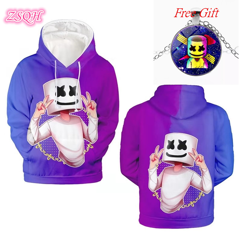 ZSQH DJ Marshmello Hoodies 7 Color Sweatshirts DJ Marshmello Cosplay Costume For Kids Women&Men Fashion Marshmallow Costume Girl