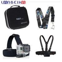 LANBEIKA For Gopro Hard Bag Case Box + Camera Straps Hanging Rope + Chest Strap + Head Strap for Go Pro Hero 5 4 3+ SJCAM SJ6