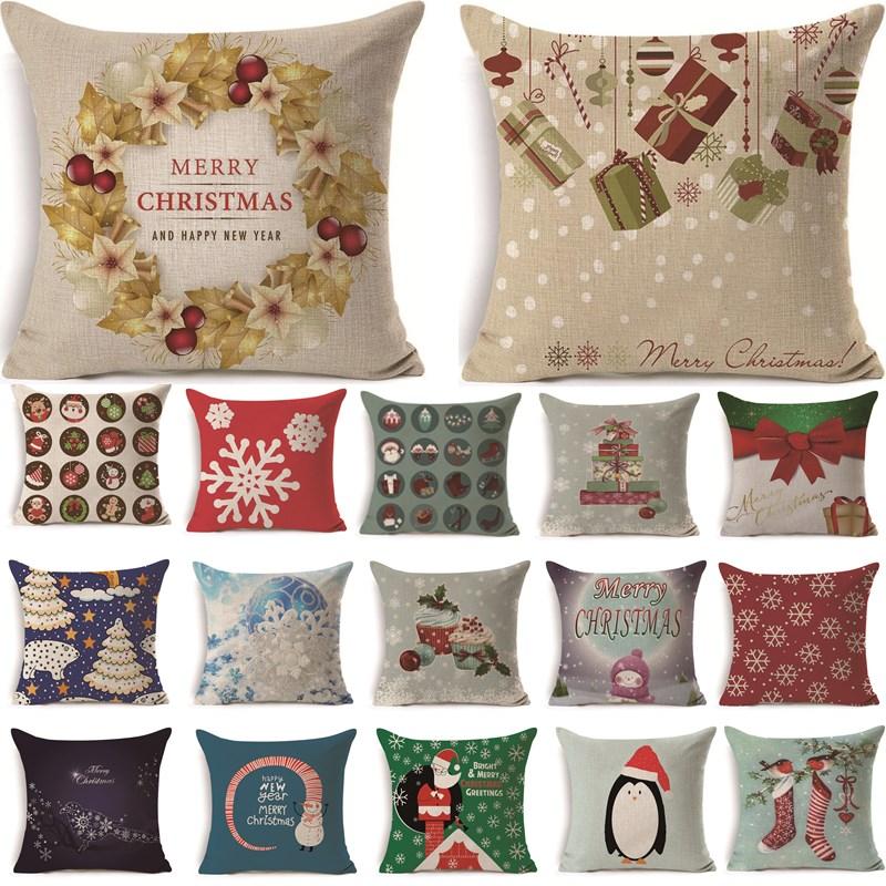 1Pcs 43*43cm Christmas Gifts Flower Pattern Cotton Linen Throw Pillow Cushion Cover Car Home Sofa Decorative Pillowcase 40487