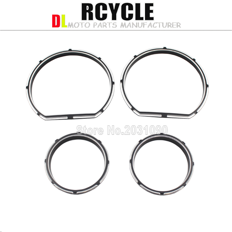 4Pcs/Set Black Burst Instrument Board Gauge Bezel Kit For