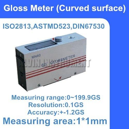 Бесплатная доставка криволинейной поверхности Глянец метр колеи Glossmeter диапазон: 0 ~ 199.9gs измерения области: 1*1 мм Разрешение: 0.1gs точность: + 1.