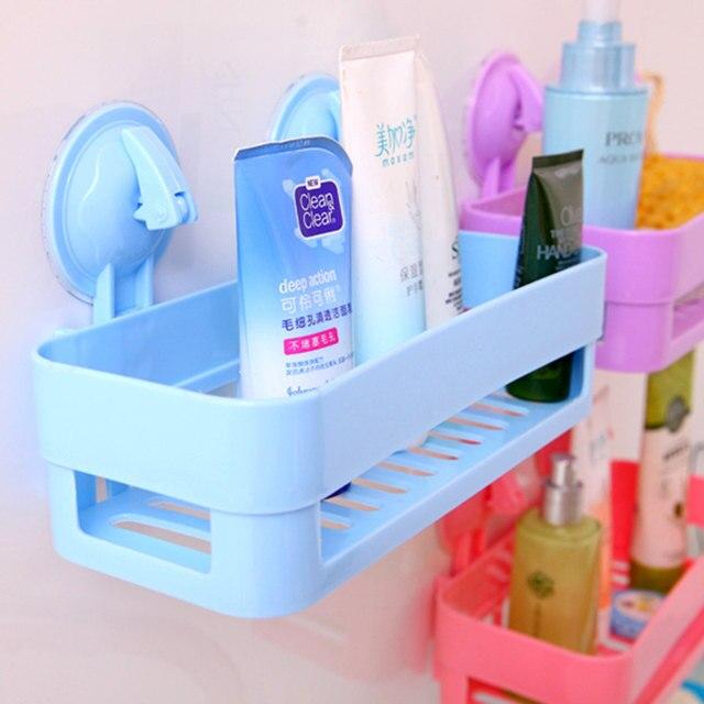 Genial 100% New Wall Sucker Bathroom Racks Pp Plastic Shelves Storage Bathroom  Accessories Pink / Purple / Green / Blue