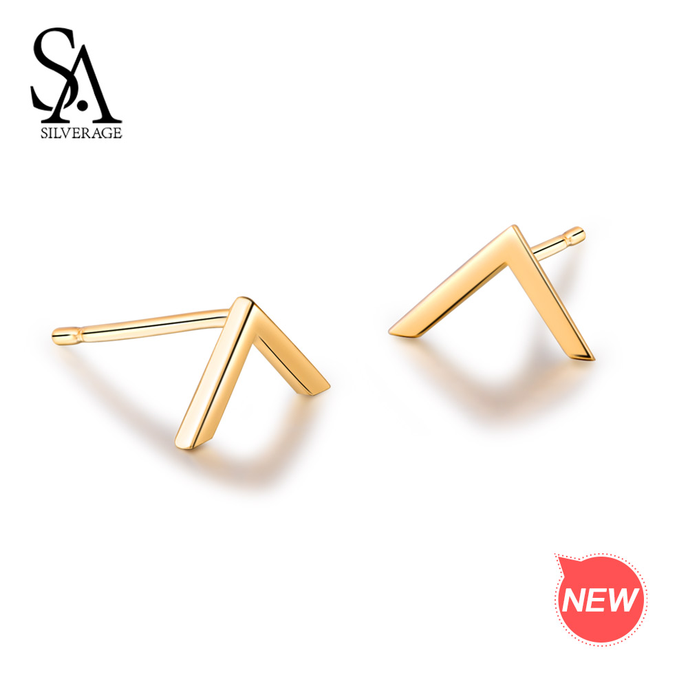 SA SILVERAGE 9K Yellow Gold Stud Earrings for Women K Gold Earrings V Word Earrings Stud