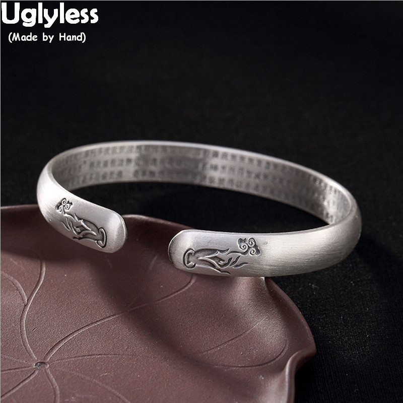 Uglyless bouddha mains bracelets ouverts pour bouddhistes unisexe hommes femmes religieux bracelets vierges 99.9% argent coeur Sutra bijoux fins