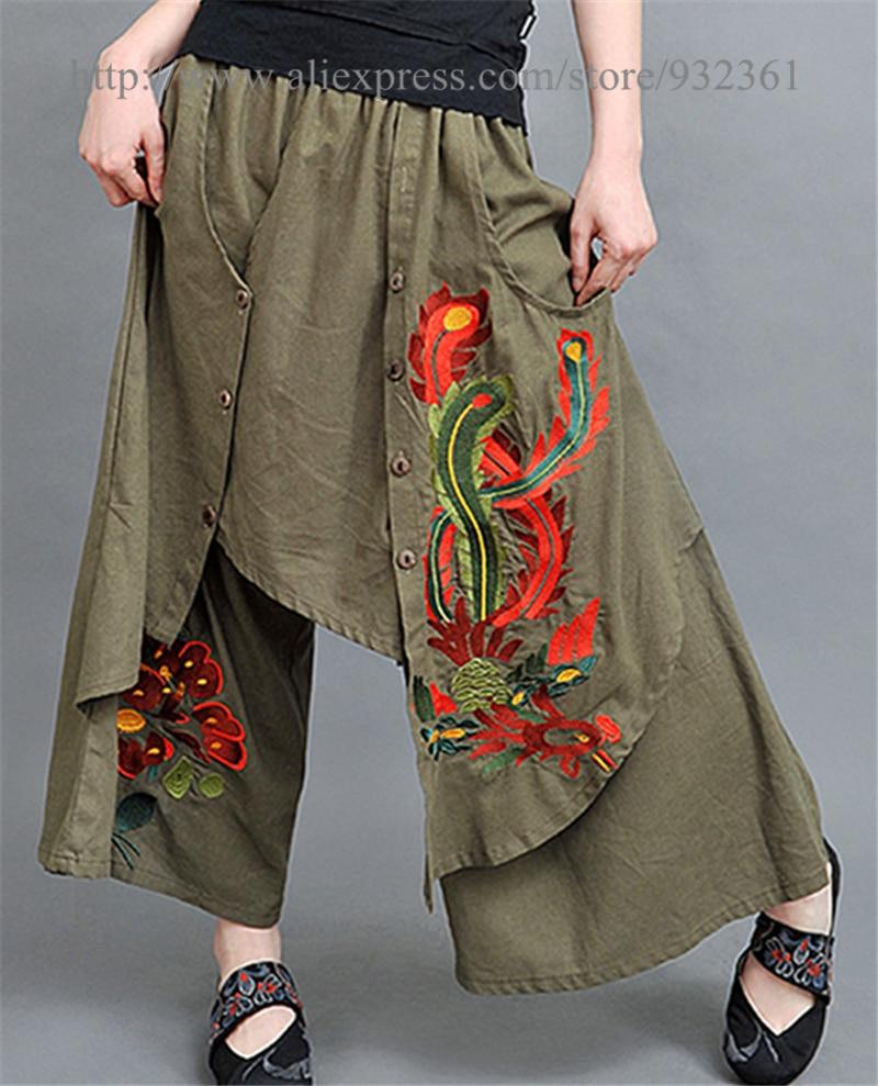 Vintage s años 70 mexicano étnico bordado mujeres pantalones BOHO Hippie  suelta pierna ancha mujeres pantalones mujer en Pantalones y Capris de La  ropa de ... bba50f46db42
