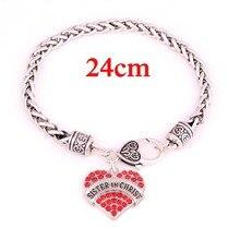 24cm Sister In Christ Pave Heart Charm Bracelet China