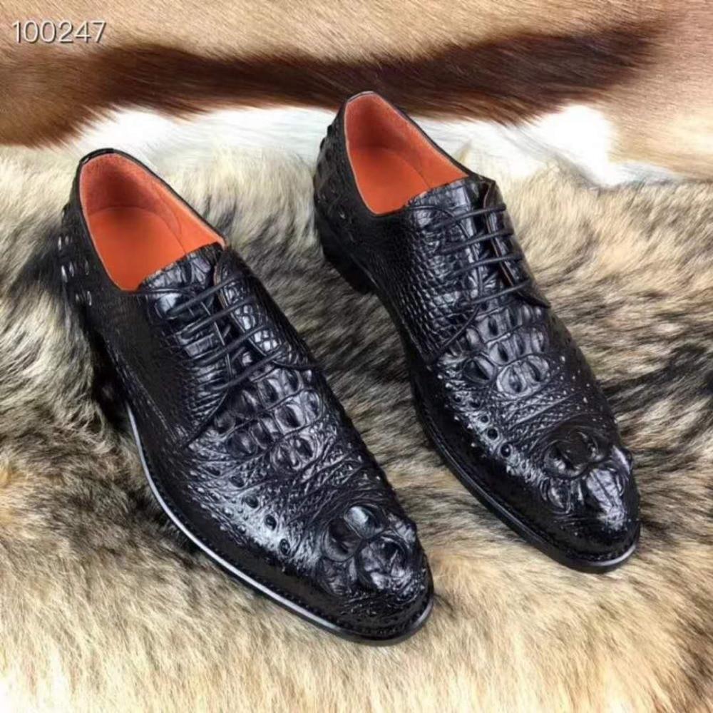 2018 Genuine real genuine crocodil skin men shoe, top quality durable solid crocodile skin men shoe fashion luxury quality shoe