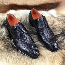 2018 newly luxury top quality shinny genuine crocodile skin men business shoe with full handmade blue black double colors