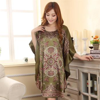 Summer New Style Satin Robe Dress Women's Sexy Loose Nightgown Sleepwear Vintage Kaftan Bathrobe Gown Plus Size