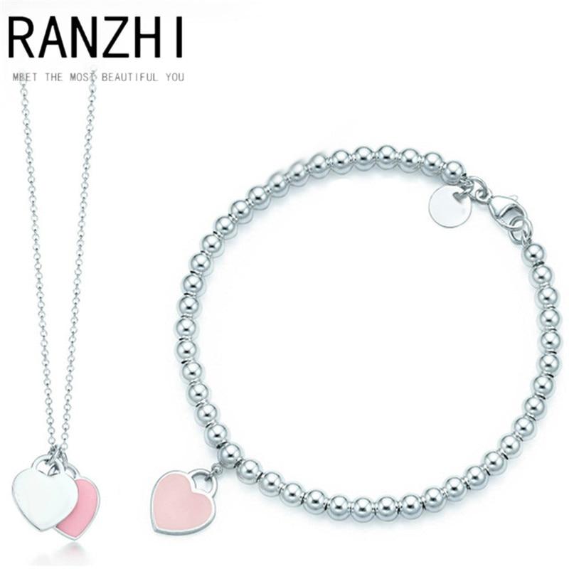 RANZHI Tiff 2018 New Trendy Heart Bracelet Brand 925 Streling Silver Pendant Pink New York For Women Elegant Bracelet Jewelry jones new york new pink women s size 12 split neck button down blouse $59