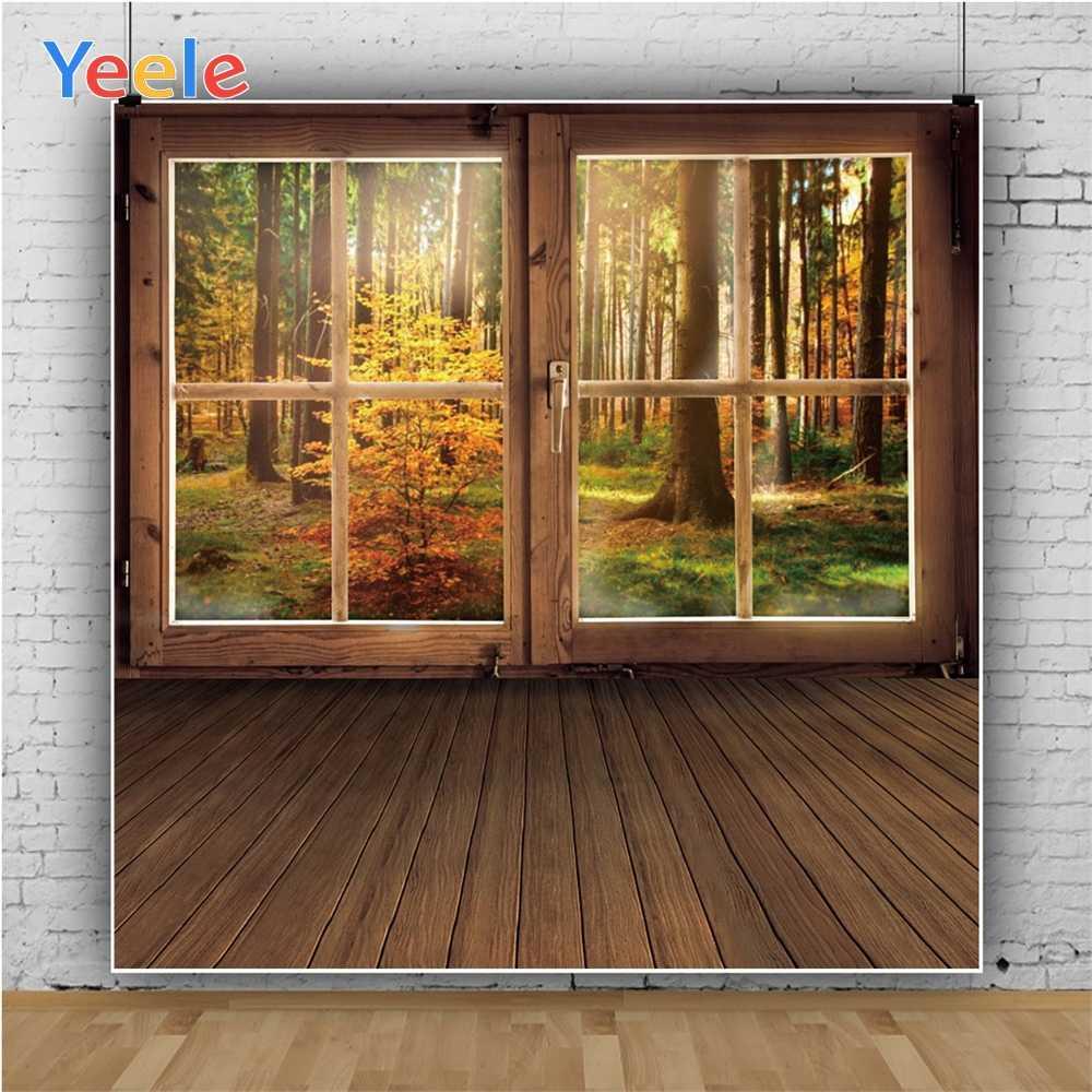 Yeele Holz Boden Fenster Tür Wald Bäume Herbst Fotografie Hintergründe Angepasst Fotografische Hintergründe für Foto Studio