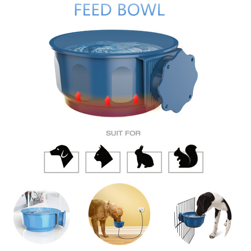 5V Pet Safe Heated Suspension Water Bowl Dish Outdoor Heated Pet Feed Cage Bowl for Dogs Feeder Automatic Constant Temperature